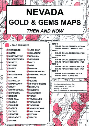 Home Page :: Field Guides :: Historical Site and Related Guides :: Nevada  Gold and Gems Map, Then and Now