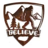 "Bigfoot Metal Art :Believe Bigfoot ""Shield"" MAGNET - Bigfoot Gift"