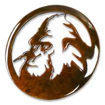 Bigfoot Metal Art, Sasquatch Head Round MAGNET