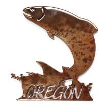 Magnets & Metal Art, Jumping Salmon w/ Oregon MAGNET
