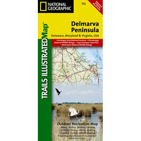 Northeastern USA Travel & Recreation :Delmarva Peninsula, Regional Recreational map (National Geographic Map)