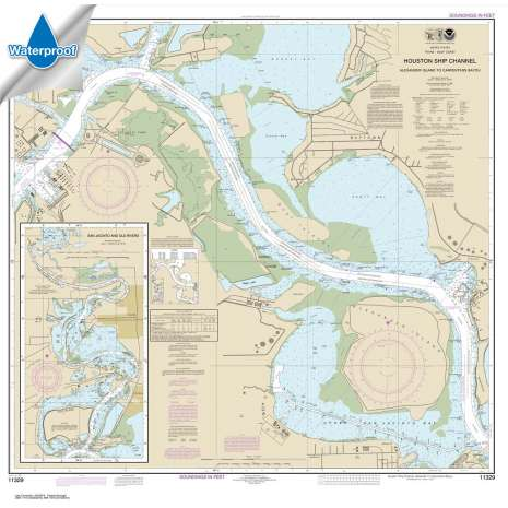 Waterproof NOAA Charts :Waterproof NOAA Chart 11329: Houston Ship Channel Alexander Island to Carpenters Bayou;San Jacinto and Old Rivers