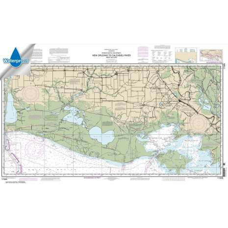 Waterproof NOAA Charts :Waterproof NOAA Chart 11345: Intracoastal Waterway New Orleans to Calcasieu River West Section
