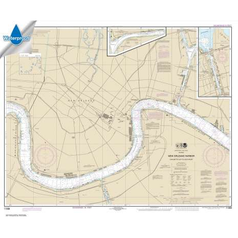 Waterproof NOAA Charts :Waterproof NOAA Chart 11368: New Orleans Harbor Chalmette Slip to Southport