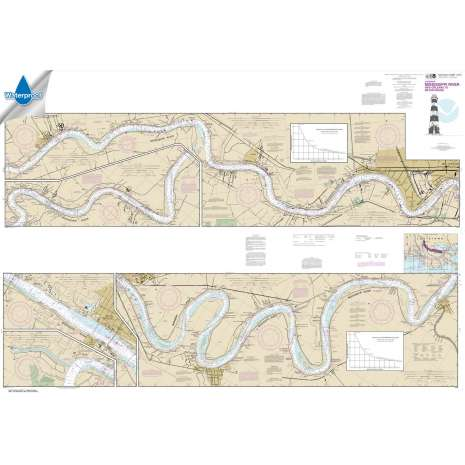 Waterproof NOAA Charts :Waterproof NOAA Chart 11370: Mississippi River-New Orleans to Baton Rouge