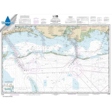 Waterproof NOAA Charts :Waterproof NOAA Chart 11373: Mississippi Sound and approaches Dauphin Island to Cat Island