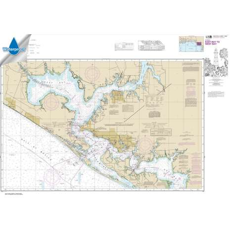 Waterproof NOAA Charts :Waterproof NOAA Chart 11390: Intracoastal Waterway East Bay to West Bay