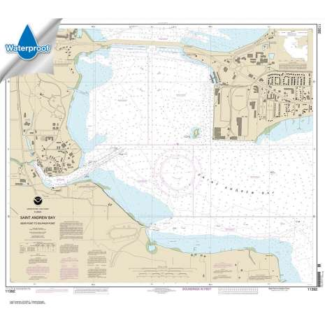 Waterproof NOAA Charts :Waterproof NOAA Chart 11392: St. Andrew Bay - Bear Point to Sulpher Point