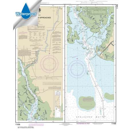 Waterproof NOAA Charts :Waterproof NOAA Chart 11406: St.Marks River and approaches