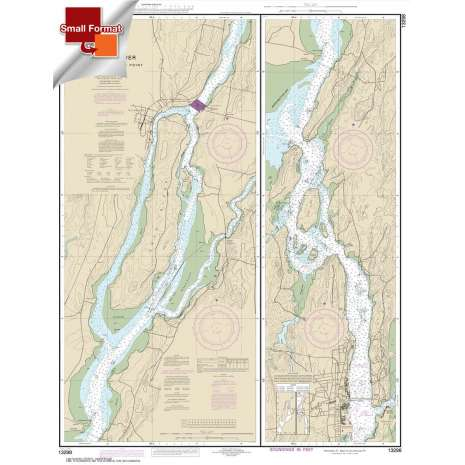 Atlantic Coast Charts :Small Format NOAA Chart 13298: Kennebec River Bath to Courthouse Point
