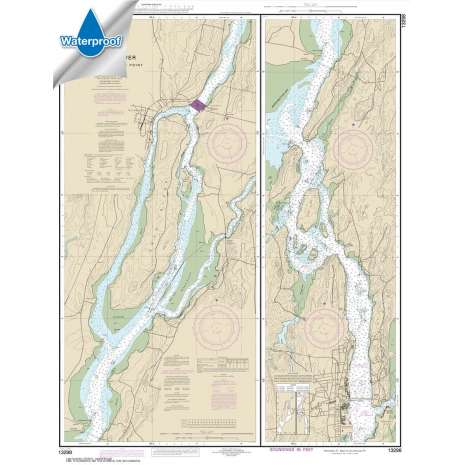Atlantic Coast Charts :Waterproof NOAA Chart 13298: Kennebec River Bath to Courthouse Point