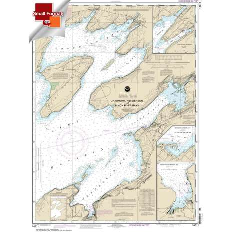 Great Lakes Charts :Small Format NOAA Chart 14811: Chaumont: Henderson and Black River Bays;Sackets Harbor;Henderson Harbor;Chaumont Harbor