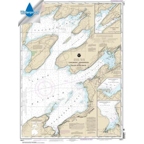 Waterproof NOAA Charts :Waterproof NOAA Chart 14811: Chaumont: Henderson and Black River Bays;Sackets Harbor;Henderson Harbor;Chaumont Harbor
