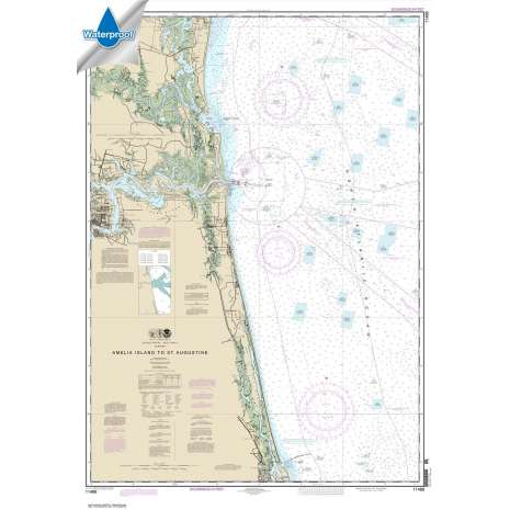 Atlantic Coast Charts :Waterproof NOAA Chart 11488: Amelia Island to St. Augustine