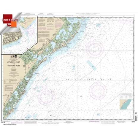 Atlantic Coast Charts, Small Format NOAA Chart 12318: Little Egg Inlet to Hereford Inlet;Absecon Inlet