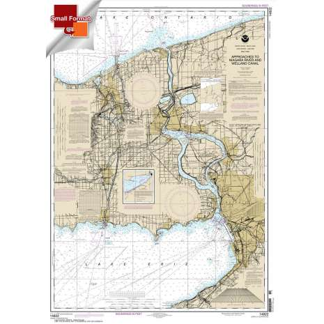 Great Lakes Charts :Small Format NOAA Chart 14822: Approaches to Niagara River and Welland Canal