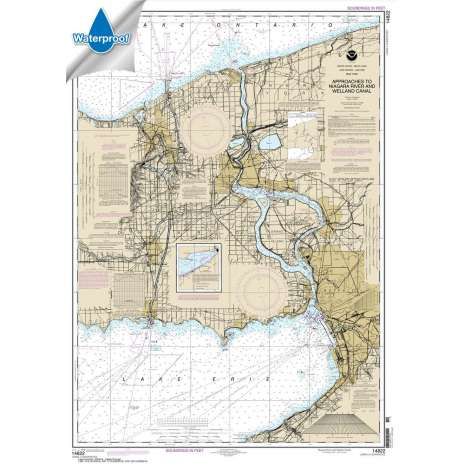 Waterproof NOAA Charts :Waterproof NOAA Chart 14822: Approaches to Niagara River and Welland Canal