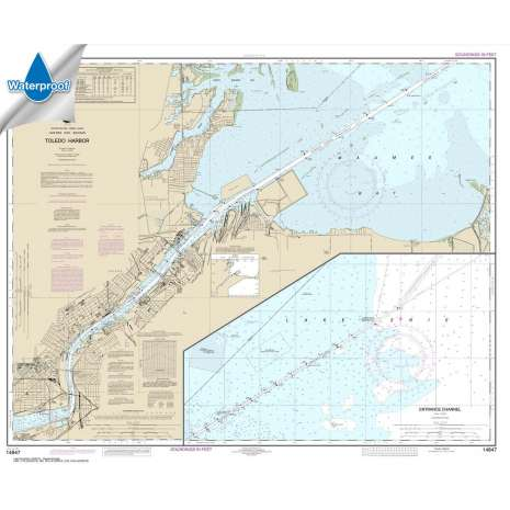 Waterproof NOAA Charts :Waterproof NOAA Chart 14847: Toledo Harbor;Entrance Channel to Harbor