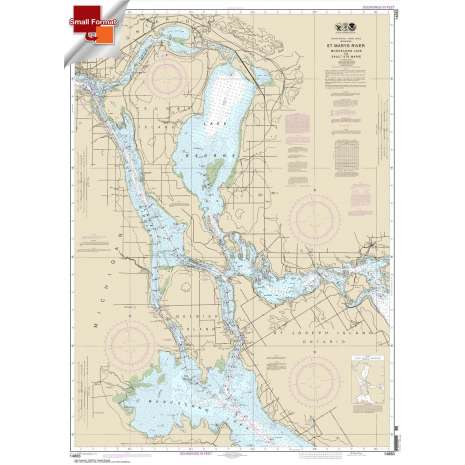 Great Lakes Charts :Small Format NOAA Chart 14883: St. Marys River - Munuscong Lake to Sault Ste. Marie