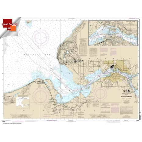 Great Lakes Charts :Small Format NOAA Chart 14884: St. Marys River - Head of Lake Nicolet to Whitefish Bay;Sault Ste. Marie