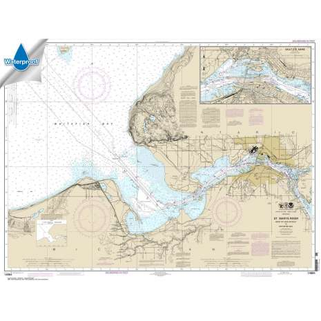 Waterproof NOAA Charts :Waterproof NOAA Chart 14884: St. Marys River - Head of Lake Nicolet to Whitefish Bay;Sault Ste. Marie