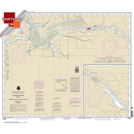Great Lakes Charts :Small Format NOAA Chart 14931: Grand River From Dermo Bayou To Bass River
