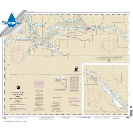 Waterproof NOAA Charts :Waterproof NOAA Chart 14931: Grand River From Dermo Bayou To Bass River