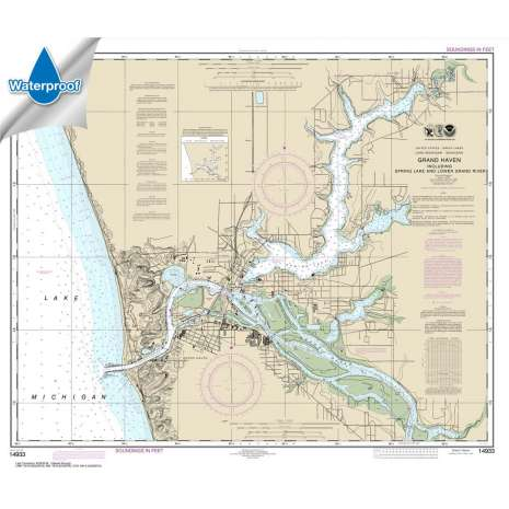Waterproof NOAA Charts :Waterproof NOAA Chart 14933: Grand Haven: including Spring Lake and Lower Grand River