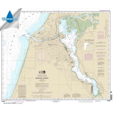 Waterproof NOAA Charts :Waterproof NOAA Chart 14938: Manistee Harbor and Manistee Lake