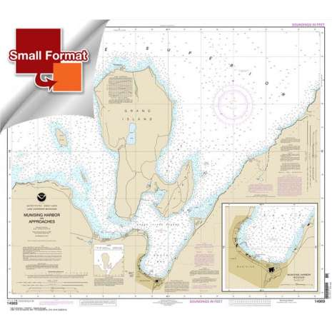 Great Lakes Charts :Small Format NOAA Chart 14969: Munising Harbor and Approaches;Munising Harbor
