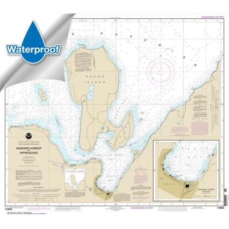 Waterproof NOAA Charts :Waterproof NOAA Chart 14969: Munising Harbor and Approaches;Munising Harbor