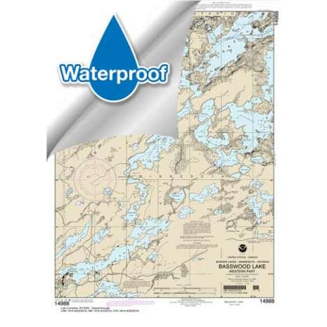 Waterproof NOAA Charts :Waterproof NOAA Chart 14988: Basswood Lake: Western Part