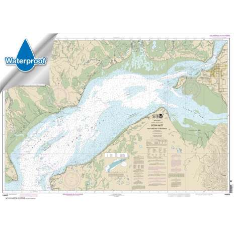Waterproof NOAA Charts :Waterproof NOAA Chart 16663: Cook Inlet-East Foreland to Anchorage;North Foreland