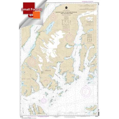Alaska Charts :Small Format NOAA Chart 16712: Unakwik Inlet to Esther Passage and College Fiord