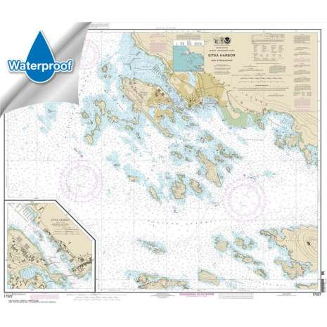 Waterproof NOAA Charts :Waterproof NOAA Chart 17327: Sitka Harbor and approaches;Sitka Harbor