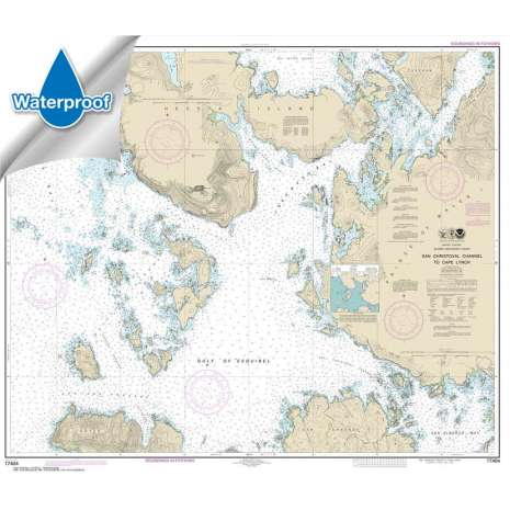 Waterproof NOAA Charts :Waterproof NOAA Chart 17404: San Christoval Channel to Cape Lynch