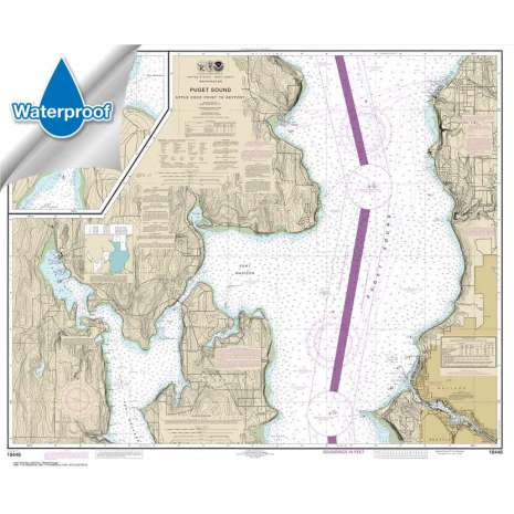 Pacific Coast Charts :Waterproof NOAA Chart 18446: Puget Sound-Apple Cove Point to Keyport;Agate Passage