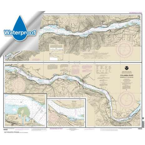 Pacific Coast Charts :Waterproof NOAA Chart 18532: Columbia River Bonneville To The Dalles; The Dalles; Hood River