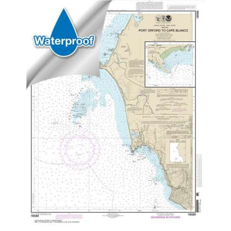 Pacific Coast Charts :Waterproof NOAA Chart 18589: Port Orford to Cape Blanco;Port Orford