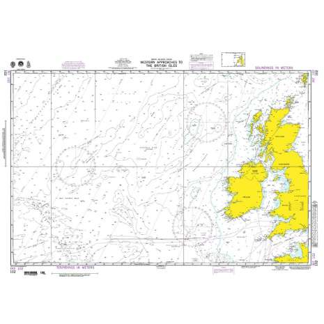 Miscellaneous International :NGA Chart 102: Western Apprs. to the British Isles