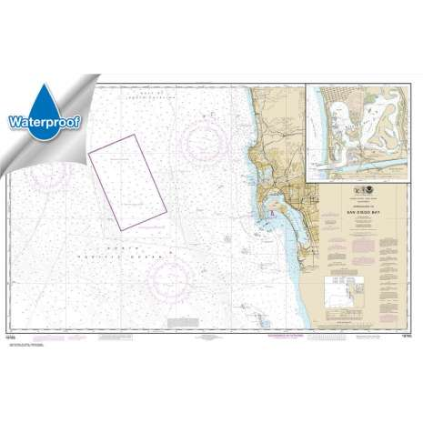Pacific Coast Charts :Waterproof NOAA Chart 18765: Approaches to San Diego Bay;Mission Bay