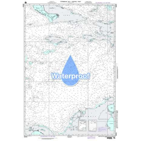Region 2 - Central, South America :Waterproof NGA Chart 26001: Carribean Sea - Central Part