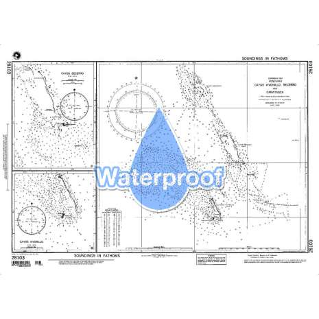 Region 2 - Central, South America, Waterproof NGA Chart 28103: Cayos Vivorillo Becerro and Caratasca