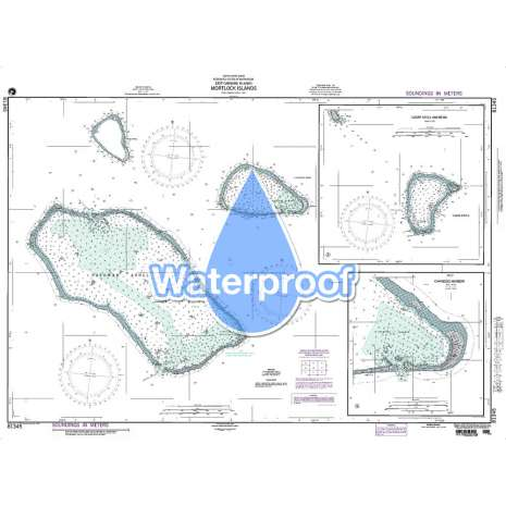 Region 8 - Pacific Islands :Waterproof NGA Chart 81345: Mortlock Islands East Caroline Islands