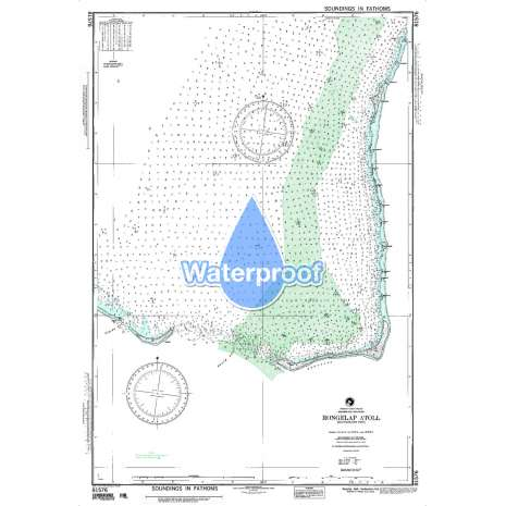 Region 8 - Pacific Islands, Waterproof NGA Chart 81576: Rongelap Atoll Southeastern Part Marshall Islands