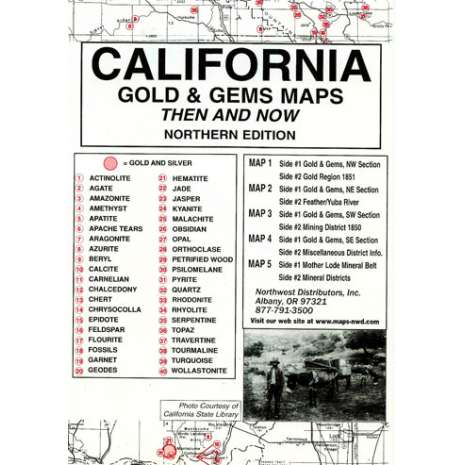 Historical Site and Related Guides :California (Northern) Gold and Gems Map, Then and Now