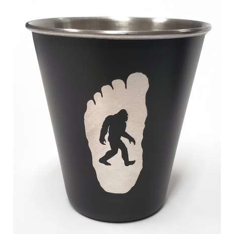 Bigfoot Novelty Gifts :Sasquatch w/ Redwood Tree Stainless Steel Shot Glass
