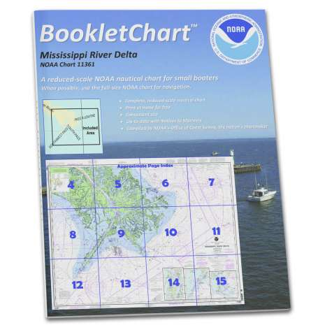 Gulf Coast Charts :NOAA Booklet Chart 11361: Mississippi River Delta;Southwest Pass;South Pass;Head of Passes