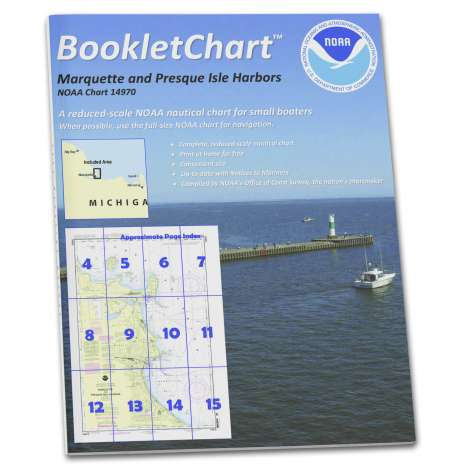 Great Lakes Charts :NOAA Booklet Chart 14970: Marquette and Presque Isle Harbors