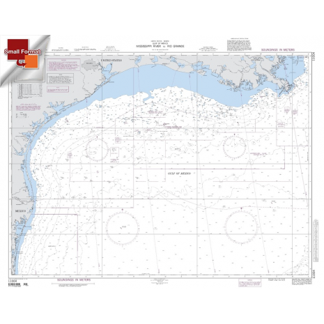 """Miscellaneous International :NGA Chart 11004: Mississippi River To Rio Grande, Approx. Size 21"""" x 27"""" (SMALL FORMAT WATERPROOF)"""